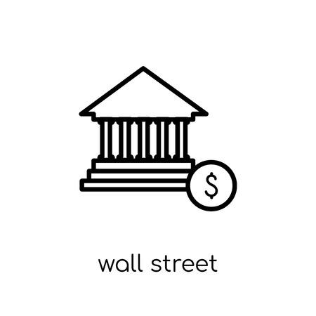 Icône de Wall Street. Icône moderne dernier cri de Wall Street plat linéaire vectoriel sur fond blanc de la collection entreprise fine ligne, illustration de vecteur editable contour AVC