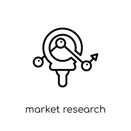 market Research icon. Trendy modern flat linear vector market Research icon on white background from thin line Business and analytics collection, editable outline stroke vector illustration