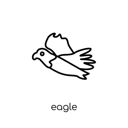Eagle icon. Trendy modern flat linear vector Eagle icon on white background from thin line animals collection, editable outline stroke vector illustration Иллюстрация