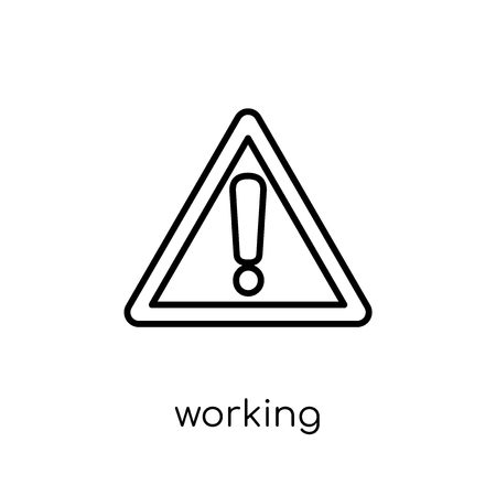 Working sign icon. Trendy modern flat linear vector Working sign icon on white background from thin line traffic sign collection, editable outline stroke vector illustration 向量圖像