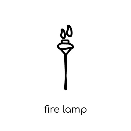 fire lamp icon. Trendy modern flat linear vector fire lamp icon on white background from thin line Camping collection, outline vector illustration Stok Fotoğraf - 112418672