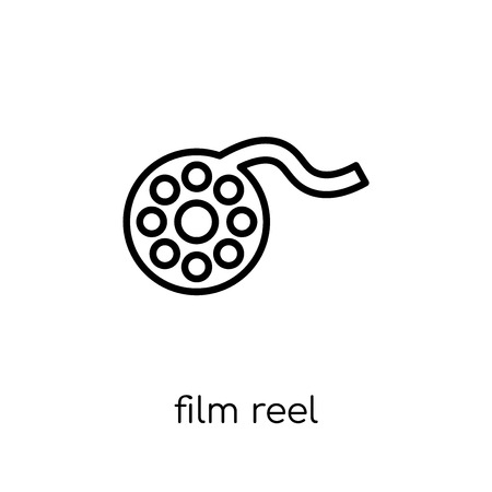 Film reel icon. Trendy modern flat linear vector Film reel icon on white background from thin line Cinema collection, editable outline stroke vector illustration 向量圖像