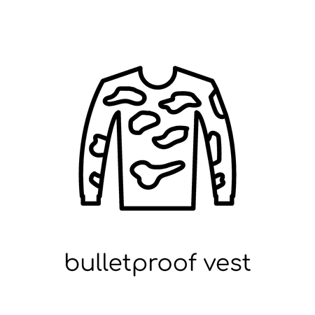 bulletproof vest icon. Trendy modern flat linear vector bulletproof vest icon on white background from thin line Army collection, outline vector illustration