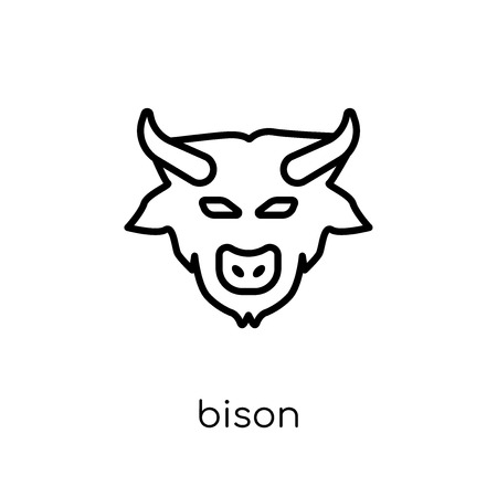 Bison icon. Trendy modern flat linear vector Bison icon on white background from thin line animals collection, editable outline stroke vector illustration