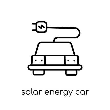 solar energy car icon. Trendy modern flat linear vector solar energy car icon on white background from thin line Artificial Intelligence, Future Technology collection, outline vector illustration
