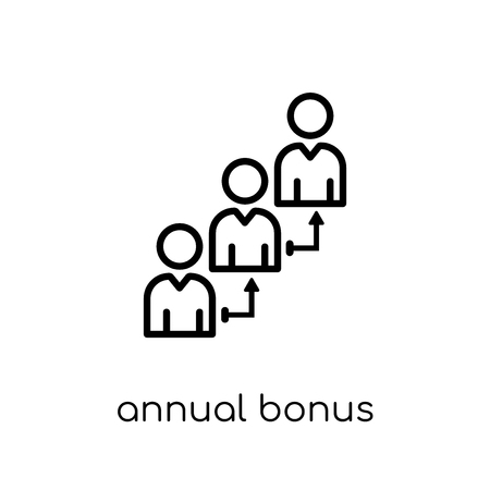 annual bonus icon. Trendy modern flat linear vector annual bonus icon on white background from thin line Annual bonus collection, outline vector illustration