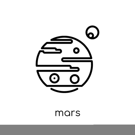 mars icon. Trendy modern flat linear vector mars icon on white background from thin line Astronomy collection, outline vector illustration