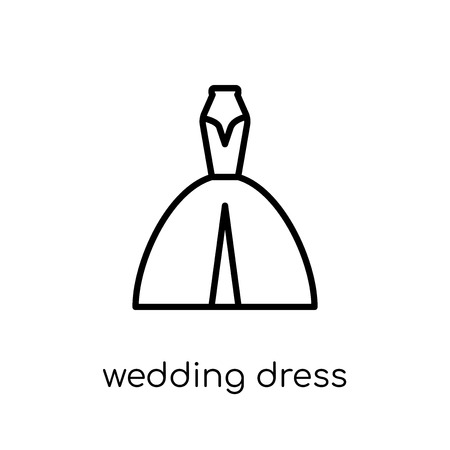 wedding dress icon. Trendy modern flat linear vector wedding dress icon on white background from thin line Wedding and love collection, outline vector illustration 向量圖像