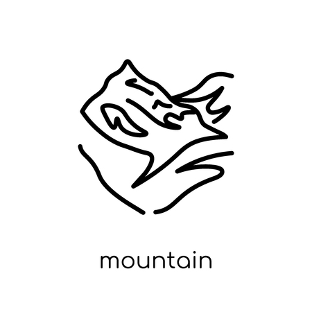Mountain icon. Trendy modern flat linear vector Mountain icon on white background from thin line Architecture and Travel collection, editable outline stroke vector illustration