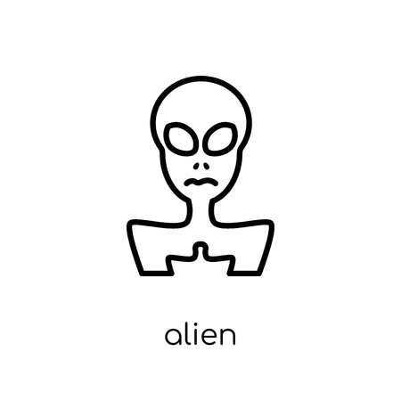 alien icon. Trendy modern flat linear vector alien icon on white background from thin line Astronomy collection, outline vector illustration