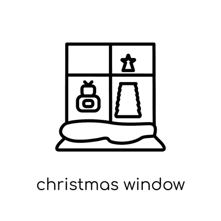 christmas window icon. Trendy modern flat linear vector christmas window icon on white background from thin line Christmas collection, outline vector illustration