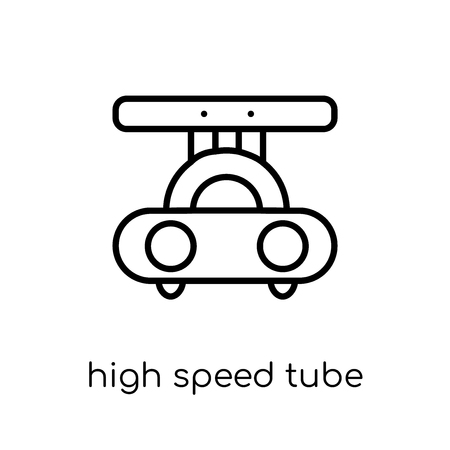 high speed tube icon. Trendy modern flat linear vector high speed tube icon on white background from thin line Artificial Intelligence, Future Technology collection, outline vector illustration Illustration