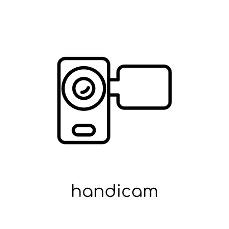 Handicam icon. Trendy modern flat linear vector Handicam icon on white background from thin line Cinema collection, editable outline stroke vector illustration