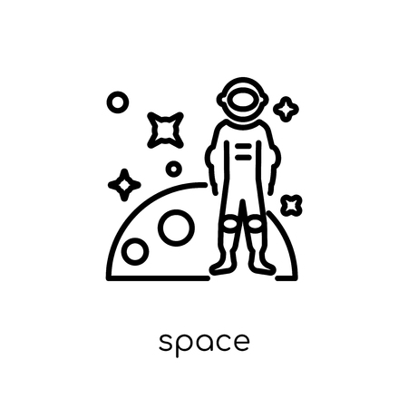 space icon. Trendy modern flat linear vector space icon on white background from thin line Astronomy collection, outline vector illustration Illustration