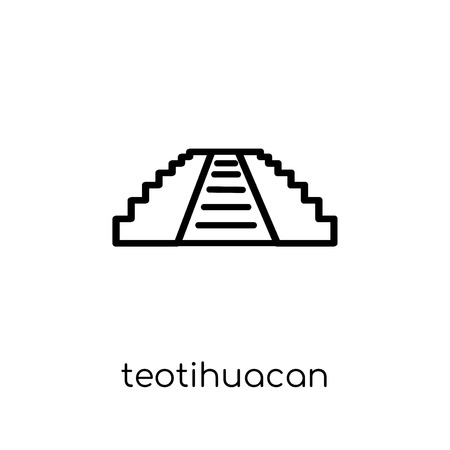 Teotihuacan icon. Trendy modern flat linear vector Teotihuacan icon on white background from thin line Architecture and Travel collection, editable outline stroke vector illustration