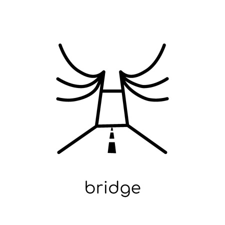 Bridge icon. Trendy modern flat linear vector Bridge icon on white background from thin line Architecture and Travel collection, editable outline stroke vector illustration