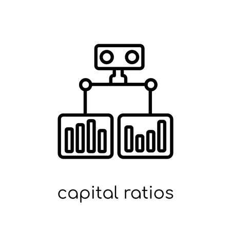 capital ratios - tier 1 and tier 2 icon. Trendy modern flat linear vector capital ratios - tier 1 and tier 2 icon on white background from thin line Capital ratios Tier 1 and Tier 2 collection, outlin