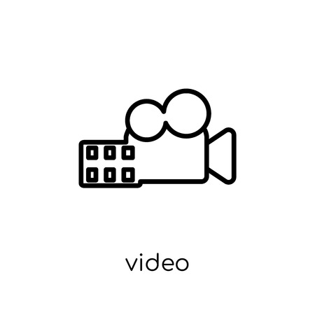 Video icon. Trendy modern flat linear vector Video icon on white background from thin line Cinema collection, editable outline stroke vector illustration