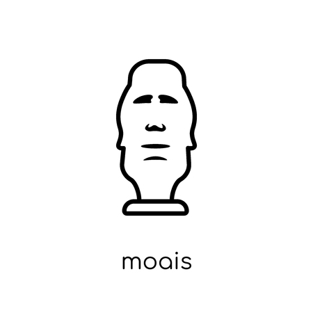 Moais icon. Trendy modern flat linear vector Moais icon on white background from thin line Architecture and Travel collection, editable outline stroke vector illustration Foto de archivo - 112418744