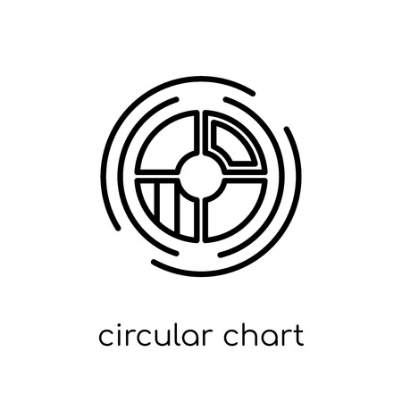 Circular chart icon. Trendy modern flat linear vector Circular chart icon on white background from thin line Business and analytics collection, editable outline stroke vector illustration 向量圖像