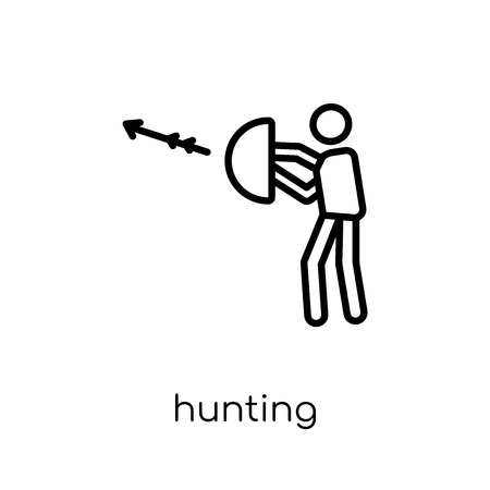 Hunting icon. Trendy modern flat linear vector Hunting icon on white background from thin line Activity and Hobbies collection, editable outline stroke vector illustration 向量圖像