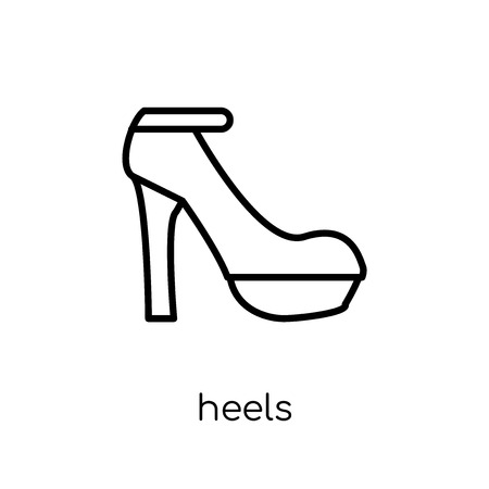 heels icon. Trendy modern flat linear vector heels icon on white background from thin line Clothes collection, outline vector illustration