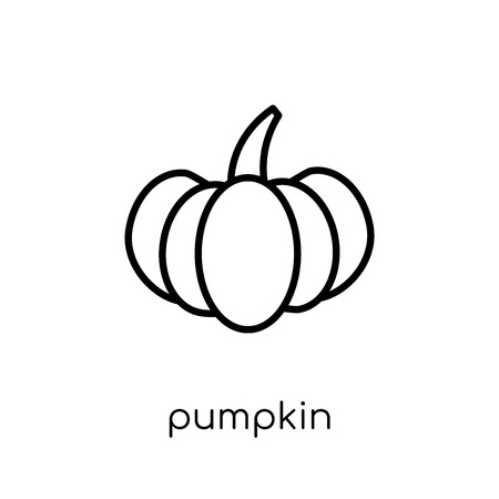 pumpkin icon. Trendy modern flat linear vector pumpkin icon on white background from thin line Agriculture, Farming and Gardening collection, outline vector illustration Ilustração
