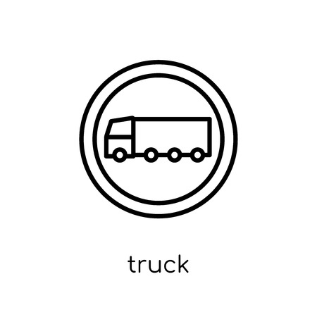 Truck sign icon. Trendy modern flat linear vector Truck sign icon on white background from thin line traffic sign collection, editable outline stroke vector illustration
