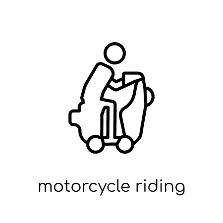 Motorcycle riding icon. Trendy modern flat linear vector Motorcycle riding icon on white background from thin line Activity and Hobbies collection, editable outline stroke vector illustration
