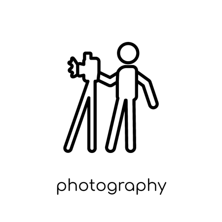 Photography icon. Trendy modern flat linear vector Photography icon on white background from thin line Activity and Hobbies collection, editable outline stroke vector illustration