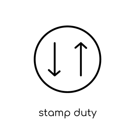 Stamp duty (equities) icon. Trendy modern flat linear vector Stamp duty (equities) icon on white background from thin line business collection, editable outline stroke vector illustration