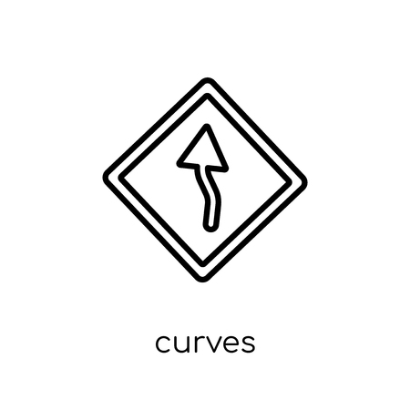 Curves sign icon. Trendy modern flat linear vector Curves sign icon on white background from thin line traffic sign collection, editable outline stroke vector illustration