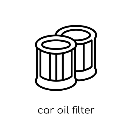 car oil filter icon. Trendy modern flat linear vector car oil filter icon on white background from thin line Car parts collection, outline vector illustration 向量圖像