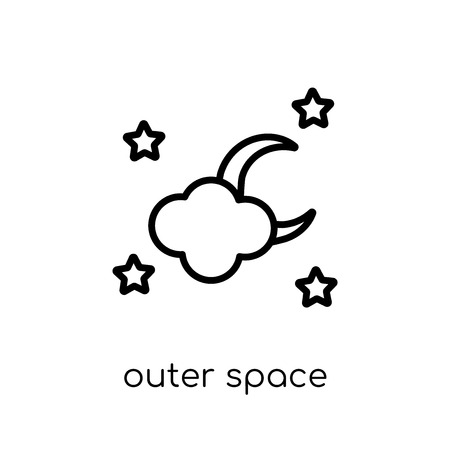 outer space icon. Trendy modern flat linear vector outer space icon on white background from thin line Artificial Intelligence, Future Technology collection, outline vector illustration Illusztráció
