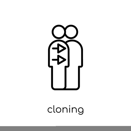 Cloning icon. Trendy modern flat linear vector Cloning icon on white background from thin line Artificial Intelligence, Future Technology collection, editable outline stroke vector illustration