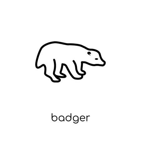 Badger icon. Trendy modern flat linear vector Badger icon on white background from thin line animals collection, editable outline stroke vector illustration