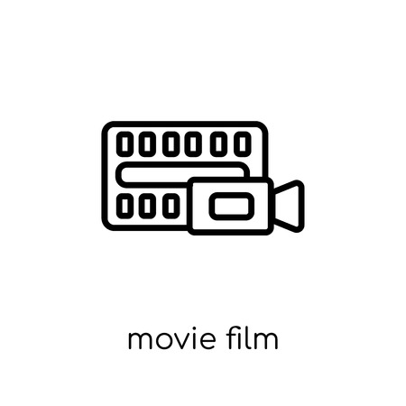 Movie Film icon. Trendy modern flat linear vector Movie Film icon on white background from thin line Cinema collection, editable outline stroke vector illustration 向量圖像