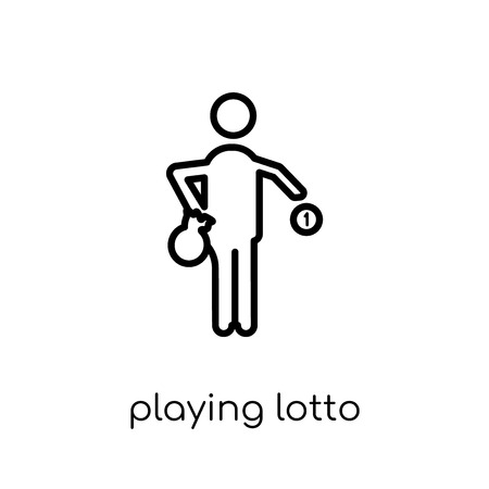 Playing Lotto icon. Trendy modern flat linear vector Playing Lotto icon on white background from thin line Activity and Hobbies collection, editable outline stroke vector illustration 版權商用圖片 - 112418790