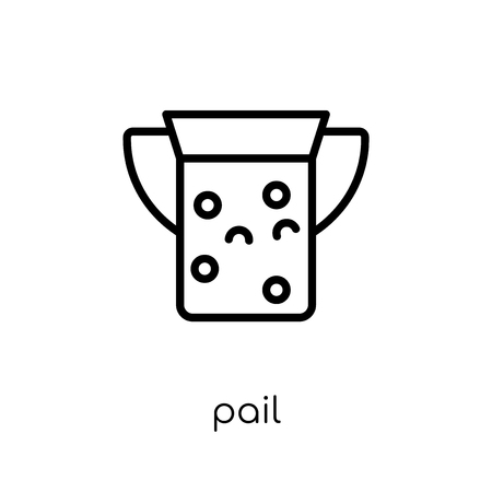 pail icon. Trendy modern flat linear vector pail icon on white background from thin line Agriculture, Farming and Gardening collection, outline vector illustration 版權商用圖片 - 112418791