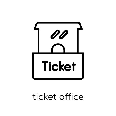 Ticket office icon. Trendy modern flat linear vector Ticket office icon on white background from thin line Cinema collection, editable outline stroke vector illustration