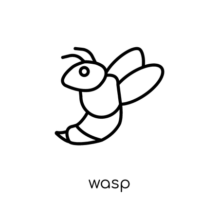 Wasp icon. Trendy modern flat linear vector Wasp icon on white background from thin line animals collection, editable outline stroke vector illustration