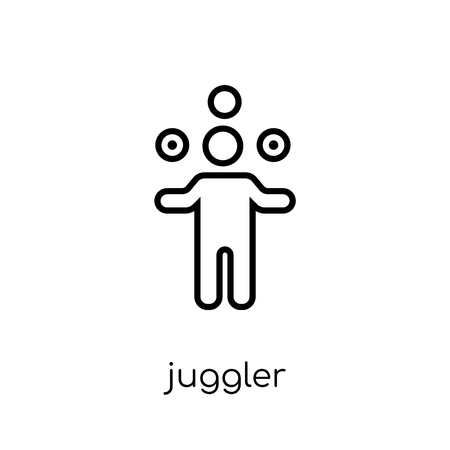 juggler icon. Trendy modern flat linear vector juggler icon on white background from thin line Circus collection, outline vector illustration