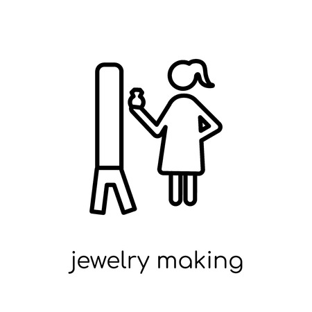 Jewelry making icon. Trendy modern flat linear vector Jewelry making icon on white background from thin line Activity and Hobbies collection, editable outline stroke vector illustration Illustration