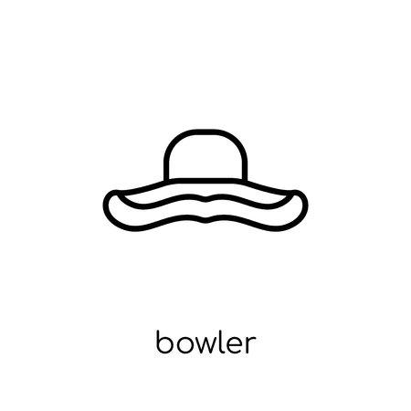 bowler icon. Trendy modern flat linear vector bowler icon on white background from thin line Clothes collection, outline vector illustration