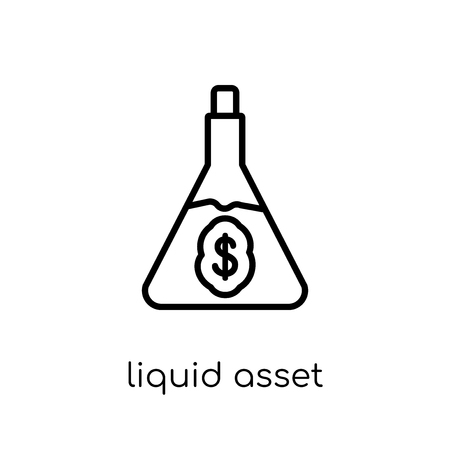 Liquid asset icon. Trendy modern flat linear vector Liquid asset icon on white background from thin line Business collection, editable outline stroke vector illustration