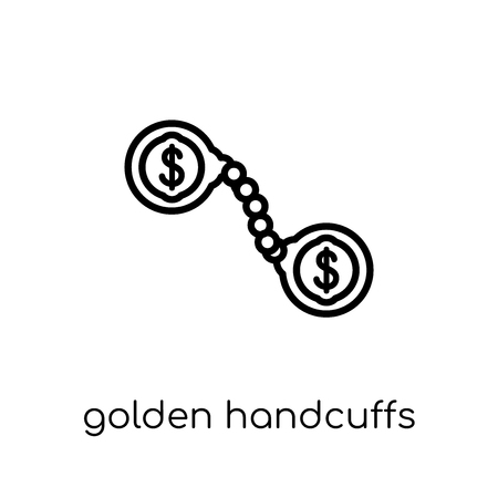 Golden handcuffs icon. Trendy modern flat linear vector Golden handcuffs icon on white background from thin line Business collection, editable outline stroke vector illustration