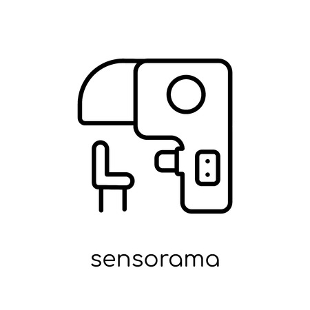 Icône de Sensorama. Icône moderne dernier cri de Sensorama plat linéaire vectoriel sur fond blanc de la fine ligne Intelligence artificielle, collection Future Technology, illustration de vecteur editable contour AVC Vecteurs