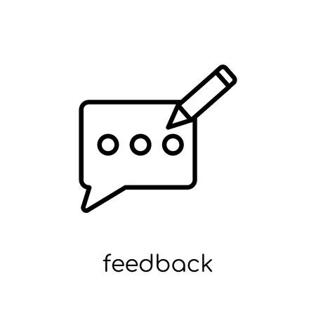 icono de comentarios. Moda moderno icono de retroalimentación vector plano lineal sobre fondo blanco de la colección de comunicación de línea fina, ilustración vectorial de contorno