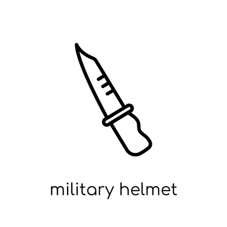 military helmet icon. Trendy modern flat linear vector military helmet icon on white background from thin line Army collection, outline vector illustration
