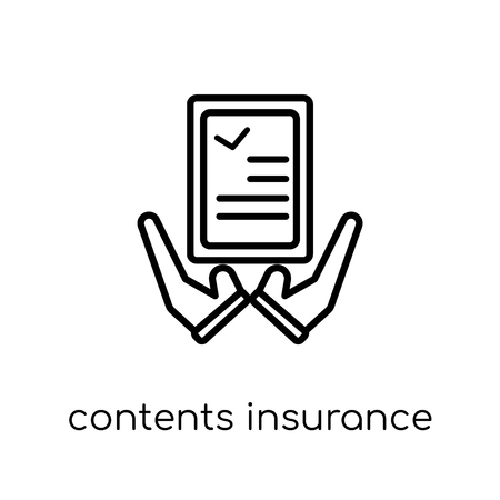 contents insurance icon. Trendy modern flat linear vector contents insurance icon on white background from thin line Contents insurance collection, outline vector illustration Ilustración de vector